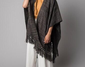Silk Woven Ruana Shawl , Spring kimono poncho, Summer knits wrap, wool ruana wrap plus size by Texturable