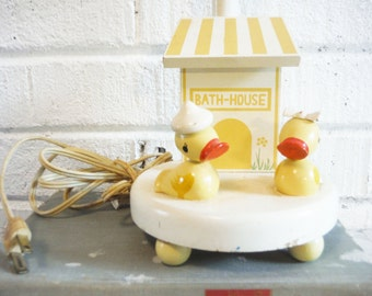 Vintage rubber ducky duck lamp. IRMI wooden nursery lamp, child's room,bathroom decor, bathroom duck, painted wood, dowel people
