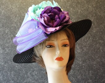 NOW with FREE SHIPPING! Derby Hat, Kentucky Derby Hat, Easter Hat, Garden Party Hat, Tea Party Hat, Church Hat, hat  Black Hat 410