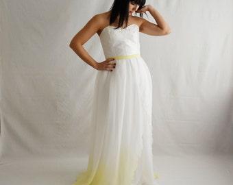 Ombre wedding dress, Alternative wedding dress, Fairy wedding dress, Romantic wedding dress, Beach wedding dress, Yellow wedding dress