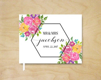 Bright Floral Landscape Wedding Guest Book, Pink and Purple Floral Summer Wedding Guestbook, Geometric Floral Bridal Shower Guest Book Gift
