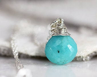 Silver Amazonite Pendant - Dainty Gemstone Necklace - Jewelry For Her - Briolette Necklace - Blue Green Necklace