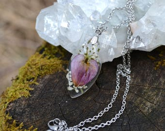 Real Pressed Bleeding Heart and Queen Annes Lace Flower Resin Necklace Pendant