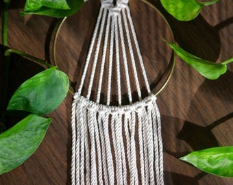 "Mini Macrame Wall Hanging - 20"" Natural White Cotton Rope 5"" Brass Ring - Sunburst - Boho Home, Nursery, Wedding Decor - Ready To Ship"