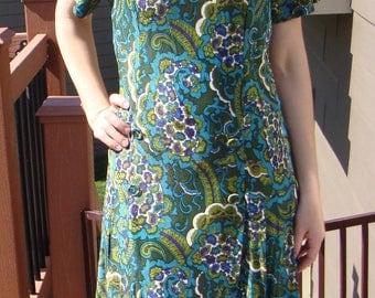 "SILKY PAISLEY DRESS vintage 1960's 1970's xl 42"" bust"