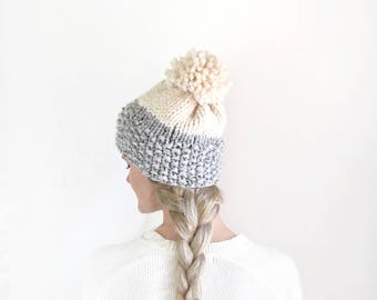 Fashion Knit Beanie Womens Knit Hat With Pom Pom / Gray & White Slouch Hat Womens Fall Fashion Winter Accessory Stylish Knitwear Wool Beanie