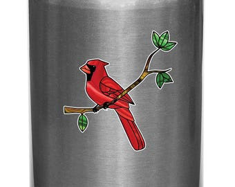 "CLR:WB - Cardinal Bird Perched on Branch - Stained Glass Style Vinyl Waterbottle Decal (Opaque) ©YYDC (2.75""w x 3""h)"
