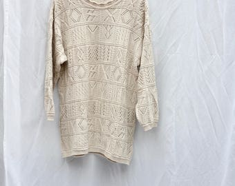 Molly pale green/beige oversized knitted pull