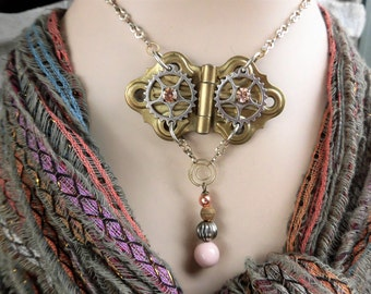 Steampunk Upcycled Brass Butterfly Hinge Necklace with Gears
