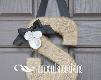Custom Monogram wreath.  Farmhouse Style Jute Letter.