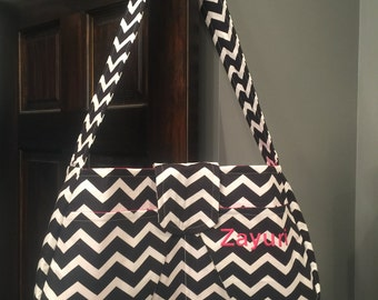Large Hobo Diaper Bag - Black & White Chevon