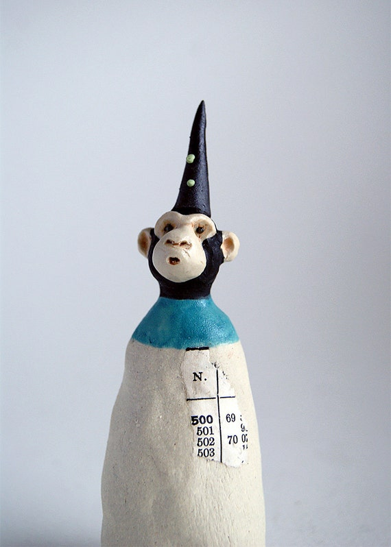 miniature monkey sculpture - monkey in black hat - mixed media