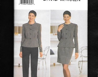 Vintage 1990's Butterick 5145 Misses' Jacket With Peplum, Skirt, And Pants Ensemble By Designer David Warren, Sizes 12, 14, 16, UNCUT