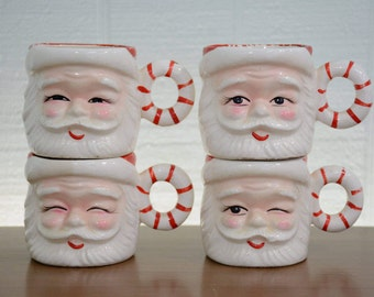 1950's Winking Santa Faces Mug with Candy Cane Handle - Made in Japan