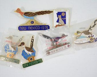 6 New Mexico Arizona Lions Club Pin Lot; 1970s, Roadrunner, Bird, Cougar, Puma, Dessert, American