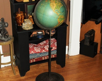 """Large Floor Stand Globe Johnston Physical Political with Cast Iron Base Up To 63"""" High"""