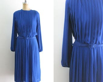 Vintage Cobalt Blue Pleated Dress Vintage Pleat Dress 50s Style Pleated Dress Pleated 50s Dress Blue 50s Dress Blue 80s Dress XXL 1X