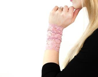 Lace Bracelet, Lace Wrist Cuff, Boho Bracelet, Pink Bracelet, Arm Band, Nursing Bracelet, Long Cuffs, Wristband Wrist Tattoo Cover Up Covers