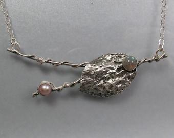 Real leaf necklace -  sterling silver organic leaf vine necklace - botanical artisan necklace - woodland fantasy necklace - elven necklace