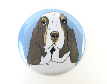 Basset Hound Button Magnet or Pin Back, basset hound dog gift, basset hound fridge magnet, black and tan basset hound, dog breed magnet