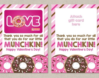 INSTANT DOWNLOAD Dunkin Donuts Inspired Valentine's Day Teacher Appreciation Gift Teacher Thank You Note 5x7 Gift Card Holder DIY Printable