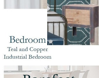 eDesign Pack - Teal, Grey and Copper Bedroom