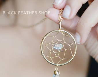 Gold Dream Catcher with Crystal Necklace