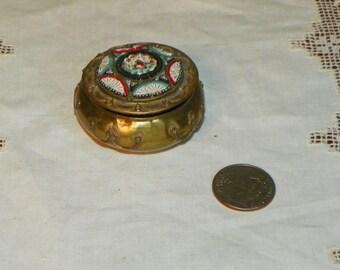 Antique Mini Micro Mosaic Beaded BOX millefiori Jewel trinket Jewelry Casket Art Nouveau ormolu Victorian miniature