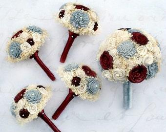 Lovestruck Wedding Bouquet Set // Maroon Red, Grey, Bridal Bouquets, Wedding Flowers, Flower Bouquet Set, Keepsake Bouquet, Winter Wedding