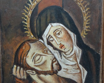Antique Saint Mary and Jesus Votive Oil Painting on Board, Vintage Original Religious Painting