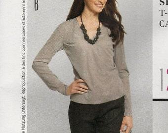 Burda 7434 Ladies t-shirt top vee neckline optional tie with darts long sleeves Size 10-12-14-16-18-20-22 Uncut sewing pattern