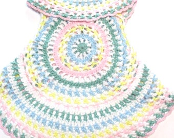 Crochet pastel baby boho hippie style circle vest sleeveless sweater.  Baby toddler spring sweater vest pastel.  Ready to ship todder vest