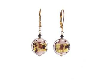 Murano Glass Pale Pink Leopard Gold Earrings, Italian Jewelry, Gold Filled Leverback Earrings, Venetian Jewelry, Lampwork Glass Jewelry