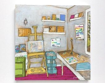 Studio interior still life original painting mixed media wall art  - The Artist's Studio I