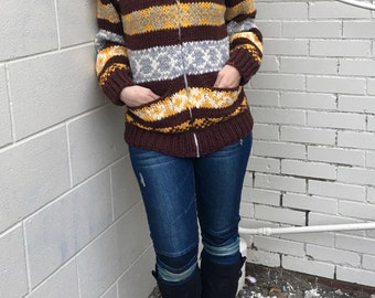 vintage cowichan sweater hand knit in fall colours -70s