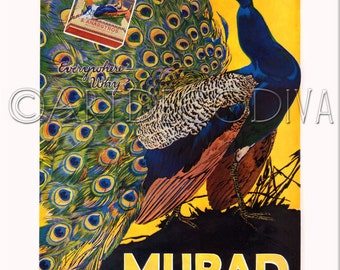 Vintage Peacock Bird Feather MURAD Tobacco Cigarette Advertising Poster Ad Fine Art Print