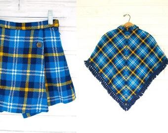 Vintage 60s 2pc children's blue plaid kilt skirt shorts plus matching cape shawl poncho