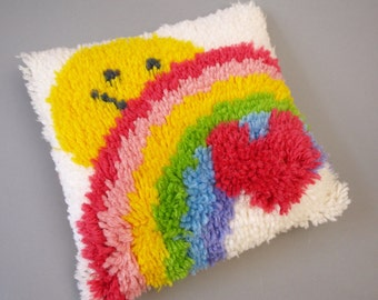Vintage 80s 70s era latch hook decorative accent pillow with rainbow heart and retro yellow smiley face