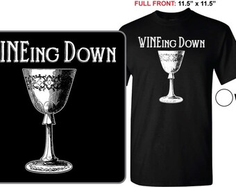 WINEing Down T-shirt, Wino, Women's Fitted T, Black shirt, Screen Printed Shirt, Wine Lover, Summer T-Shirt, Goblet, Drinking, Bar, Summer