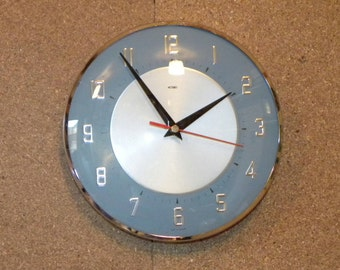 Vintage Metamec Wall Clock - Blue Kitchen Clock - Battery Operated Recycled Wall Clock