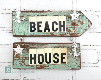 BEACH HOUSE Nautical Wall Decor, Arrow Direction Sign, Repurposed Vintage Tin Letters, Salvaged Wood, Distressed Aquamarine Paint, Anchor
