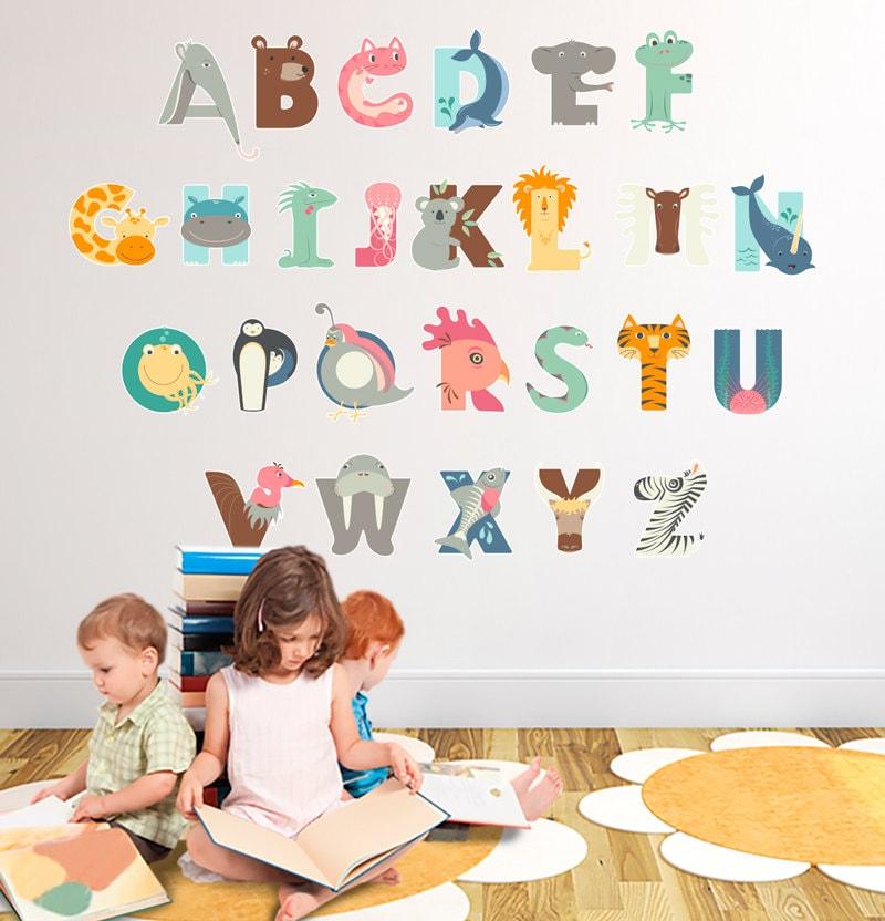stickers muraux alphabet amusant ducatif pour enfants. Black Bedroom Furniture Sets. Home Design Ideas