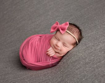 Baby Bows, Baby Headband, Baby Girl Headband, Newborn Headband, Girls Hair Bows, Felt Headband, Pink Bow Headband, Felt Bows, Baby Girl, Bow