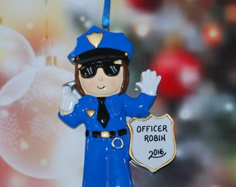 Personalized Police Woman Christmas Ornament