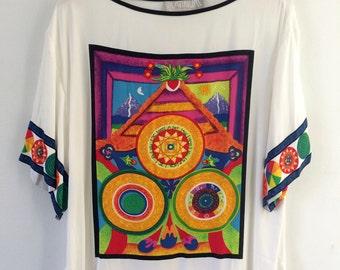90s New Age Mystical Cosmic Neon Alien Loving Chakra Balancing Meditation  Zodiac Yin Yang Spiral of Life Symbol Heavy Oversized Top Shirt