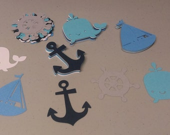 Nautical Cutouts, Anchor, Ship Wheel, Whale, Sail Boat Die Cuts, Nautical Shapes