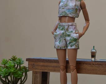 MADE TO ORDER --- Crop Top and High-waist Shorts Set in Keone print for 12in Fashion Dolls