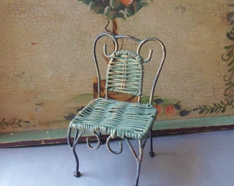 Small Green Doll Chair with Woven Rattan Seat and Back, Miniature Doll Chair with Metal Legs and Scrollwork