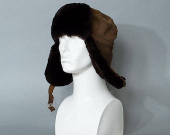 "Vintage Fur Trapper Warm Winter Hat Aviator Style Ear Flaps Large 58cm 23"""
