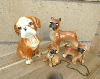 Vintage Dog Figurine Ceramic Boxer Collectiom Mama and Puppies Dog Statues